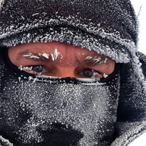 Image of man with frost on face