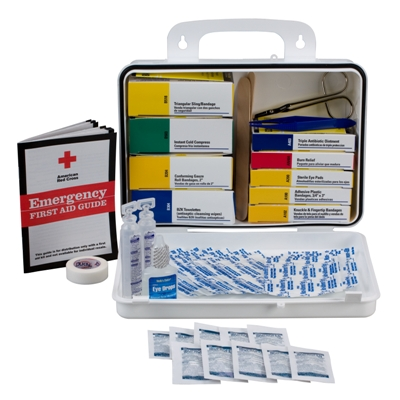 Welder's First Aid Kit - ndustrial strength workers deserve industrial strength care. Our 114-piece, 16-unit welder's first aid kit focuses on a wide range of injuries common to welders such as minor cuts, sprains, welder's arc and other common eye irritations. Products are contained in a sturdy plastic case with gasket.