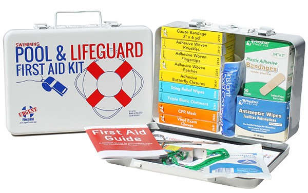 Pool & Lifeguard Kit - 16 Unit - 141 Piece - Metal Case w/ Gasket - 1 Each This swimming pool and lifeguard first aid kit has everything you'll need around the pool and more  – even a whistle for warnings and calling for help!  Use the products in this first aid kit for fun in the sun and around the water - protection and treatment for insect bites, minor cuts, scrapes and eye irritations. In addition, our lifeguard kits provide a CPR one-way valve face shield to protect rescuers from contaminants when performing CPR. Products are contained in a strong metal case with gasket for protection from weather and moisture around the swimming pool.