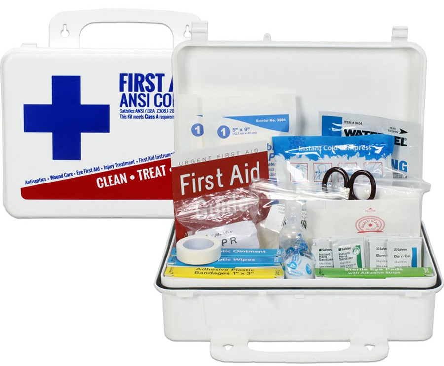 Worried about ANSI and OSHA requirements? This is our most affordable complete ANSI/OSHA first aid kit! Made right here in the USA, this Urgent First Aid kit is our best value plastic ANSI Class A first aid kit. It meets or exceeds the most recent OSHA and ANSI 2015 Standard fill requirements, with contents designed to deal with most common types of workplace injuries so you know you and your employees will be covered with the new ANSI 2015 requirements. Under the new ANSI Standard Minimum Requirements for Workplace First Aid Kits and Supplies guidelines, general requirements include the following items: Adhesive bandages, adhesive tape, antibiotic application, antiseptic, a breathing barrier, burn dressing (gel soaked), burn treatment, cold packs, eye covering, eye/skin wash, first aid guide, hand sanitizer, medical exam gloves, roller bandages, scissors, sterile pads, trauma pads, and triangular bandages. In addition the location of the kit must be easily accessible. This ANSI Class A first aid kit is great for small offices and general workplaces of up to 25 people, it is easily wall mounted, and can also be quickly removed to be taken to the accident scene.
