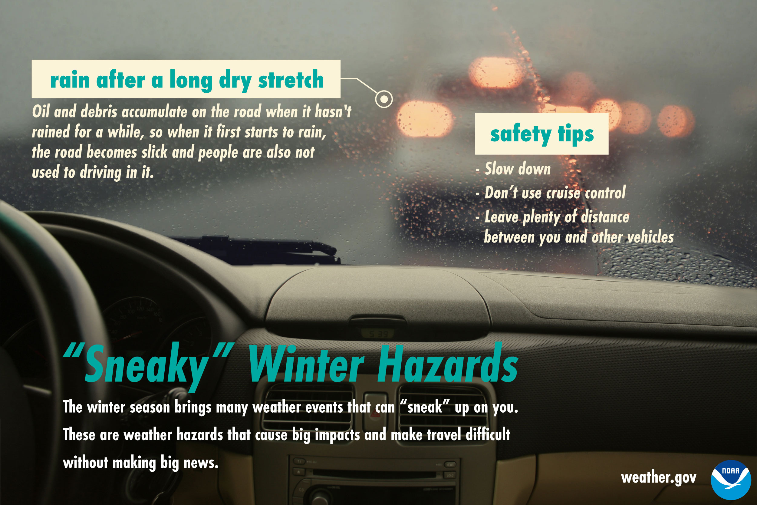 Sneaky Winter Hazards: Rain after a long dry stretch.