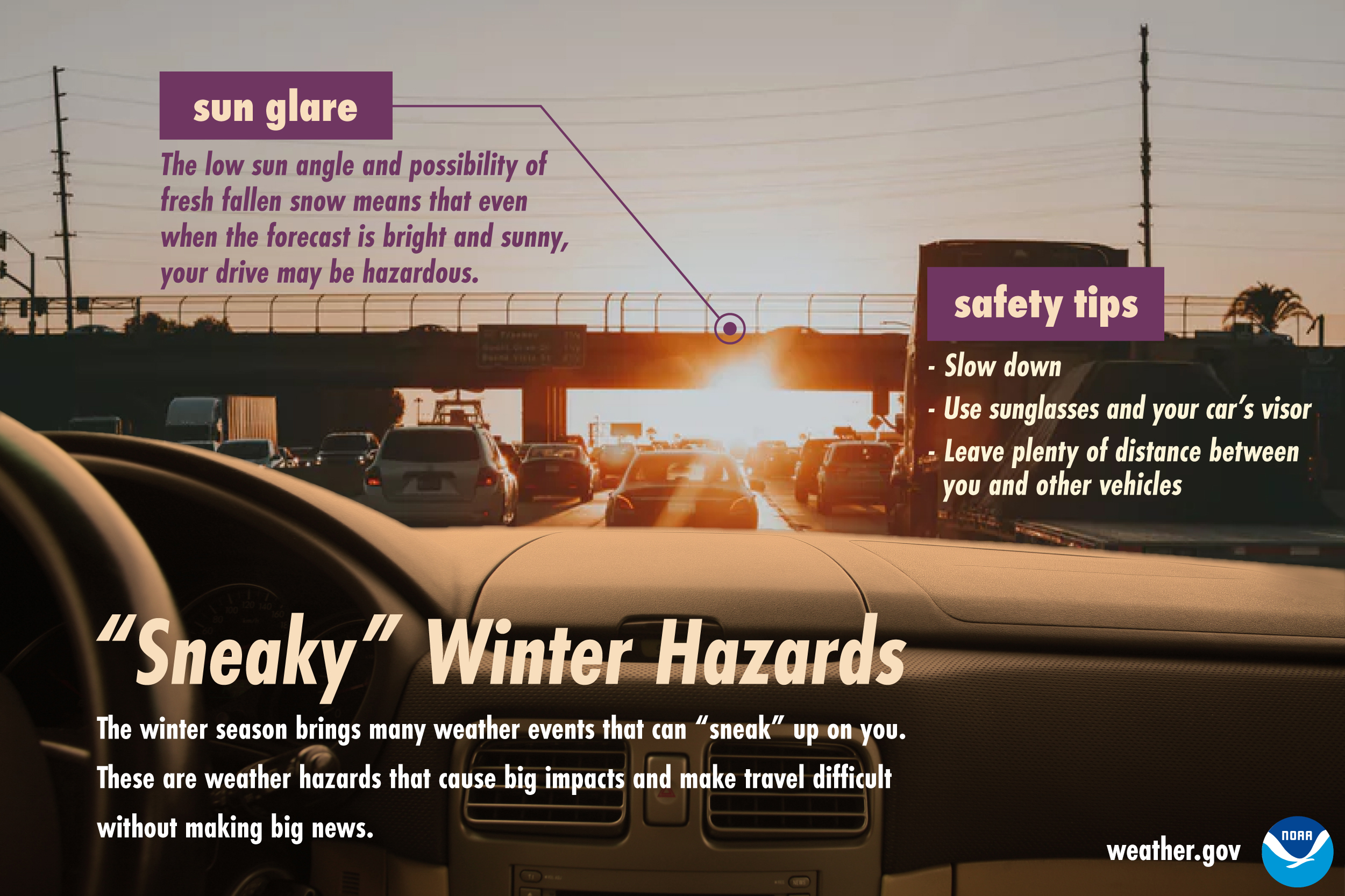 Sneaky Winter Hazards: Sun glare.