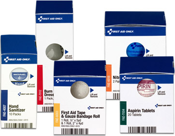 Image of an assortment of OSHA Smart Compliance Ez Refill Smart Tab First Aid Refill boxes
