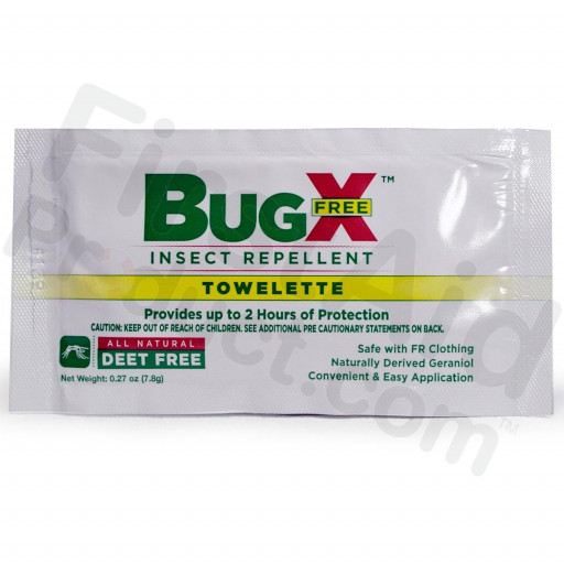 BugX FREE Natural Insect Repellent Towelette, Wallmount Dispenser, 50/Box