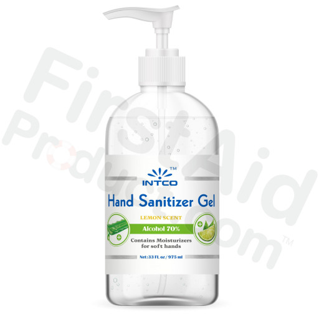 33 oz. Hand Sanitizer, 70% Isopropyl Alcohol, Pump Bottle, Lemon Scent