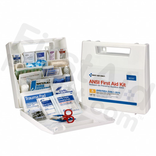 50 Person First Aid Kit, ANSI A, Plastic Case with Dividers