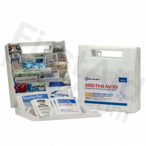 50 Person First Aid Kit, ANSI A+, Plastic Case with Dividers