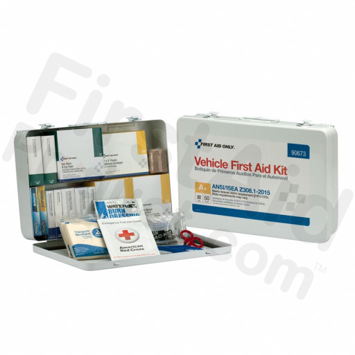 50 Person Vehicle ANSI A+ First Aid Kit, Metal Case