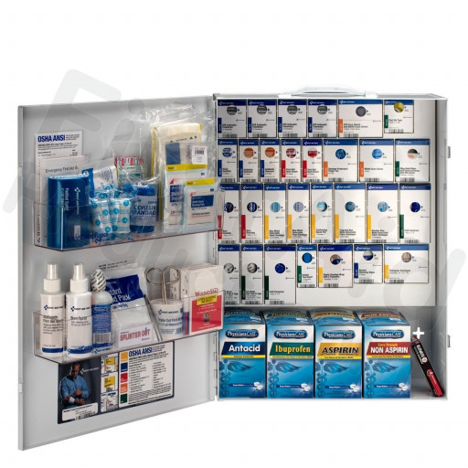 XL Metal Smart Compliance Food Service First Aid Cabinet with Meds