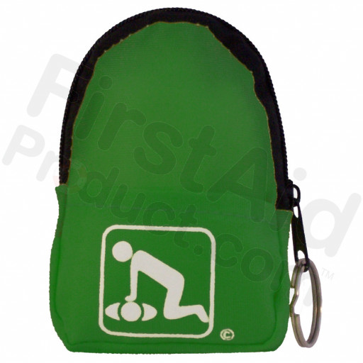 CPR Neon Green Beltloop Keychain Backpack with Faceshield, Gloves, and Cleansing Wipes
