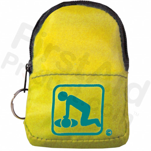 CPR Yellow Beltloop Keychain Backpack with Faceshield, Gloves, and Cleansing Wipes