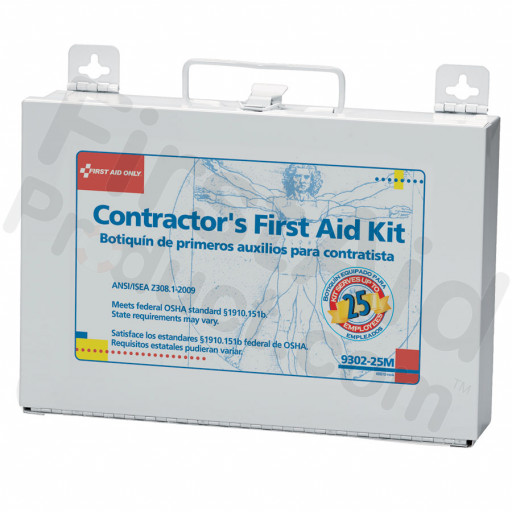 Bilingual Contractor's First Aid Kit - 25 person - 176 Pieces (metal)