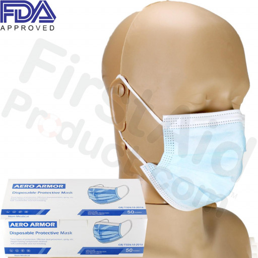 Disposable Protective Face Mask with Ear Loop, blue, FDA APPROVED, Box of 50
