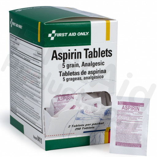 Aspirin Tablets, 5 Grain - 250 per box