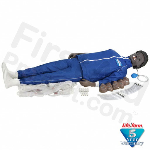 CPARLENE Brand Full Manikin with Electronic Connections, Sanitary Head & Molded Hair - Dark Skin