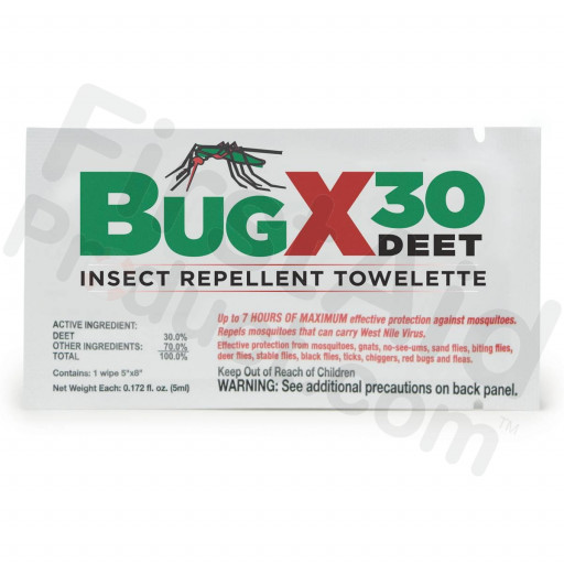 BUGX Insect Repellant Towelette, 30% DEET - 1 each