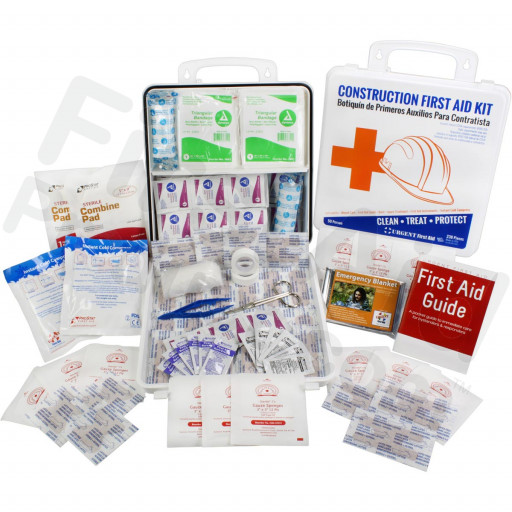 Bilingual OSHA Contractors First Aid Kit for Job Sites up to 50 People – Gasketed Plastic, 238 pieces