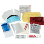 16 Piece Bodily Fluid Clean Up Pack / Bloodborne Pathogen Spill Kit