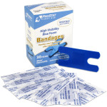 Knuckle High Visibility Blue Foam Bandages, Metal Detectable, 30 per box