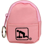 CPR Pink Beltloop Keychain Backpack with Faceshield, Gloves, and Cleansing Wipes