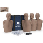 Prestan Adult Jaw Thrust CPR-AED Training Manikin with CPR Monitor - 4 Pack - Dark Skin
