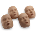 Face skin replacements for the PRESTAN Professional Adult Jaw Thrust Manikin, 4-Pack, Dark Skin