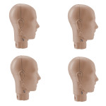 Prestan Adult Manikin Jaw Thrust Head Assembly, Medium Skin - 4 Pack