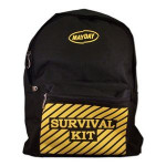 "Black Backpack w/ ""Survival Kit"" Imprint"