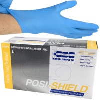 Nitrile Gloves, Posi-Shield, Large, Blue, 100 Per Box