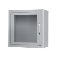 AED cabinet with alarm, metal, white