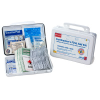 Bilingual Contractor's First Aid Kit - 25 person - 176 Pieces (plastic)