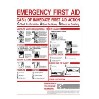 "ABC's of Emergency first aid sign, 24""x19"" plastic, 1 ea."