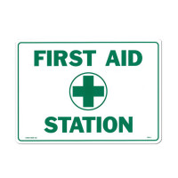 "First Aid Sign, ""First Aid Station"" - Plastic - 14""x10"""