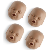 Face skin replacements for the PRESTAN Professional Infant Manikin, 4-Pack, Dark Skin