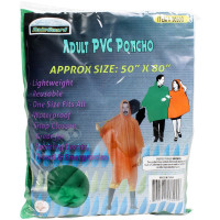 "Item #SH88CRT Adult PVC Poncho. 50"" x 80"", Lightweight, Reusable, One Size Fits All, Waterproof, and Snap Closure. Great for Sporting Events, Travel, and Emergencies."