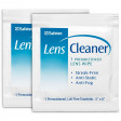 Two single lens cleaner wipe packets.