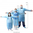 99¢ Economy, One Time Use, Disposable Gown with Thumb Hooks, Individually Bagged, Blue, 1 Each
