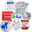 This OSHA & ANSI First Aid Kit is packed with Antiseptics, Wound Care First Aid, Eye First Aid, Injury Treatment, Latex Gloves, First Aid Scissors, a CPR Mouth Barrier, a Cold Pack, and a 52 page First Aid Guide!