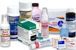 Antiseptics & Ointments - First Aid wound cleansing, topical antiseptics and wound healing. Topical Treatment First Aid products - Antiseptics, Germicides and Antimicrobial products to prevent the growth of disease-causing microorganisms. All types of First Aid Ointments and Topical Medications for treating ailments and avoiding infection. Our First Aid Antiseptics and Ointments include; Insect Sting Relief, Lubricating Jelly, Smelling Salts, Sponges, Isopropyl Alcohol, Sanitizers and Ammonia Inhalants. We offer Povidone Iodine, Benzalkonium Chloride, Antiseptic Spray... Hydrocortisone Cream & Hydrogen Peroxide. We have it all: Find Burn Relief and Burn Cream, Single and Triple Antibiotics, Cold Spray, Spray Bandage, Blood Stoppers and More. Cleansing Antiseptics for Injuries and Abrasions & Topical Ointments for First Aid