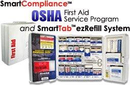 ¡Es cierto, aunque no lo crea! Este Gabinete de Primeros Auxilios para Industria General o Para Restaurante GARANTIZA Cumplimiento con las Guías de Primeros Auxilios de OSHA... ¡Respaldado por uno de los más grandes manufacturero in los Estados Unidos! ¡Apoyado por el tercer manufacturo más grande en los Estados Unidos! ¡Mire esta Estación económica de Conformidad de OSHA y Asegure su Conformidad Ahora! Cumplimiento SmartCompliance de Primeros Auxilios de OSHA ... Programa Garantizado de OSHA.