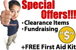 FREE First Aid Kit or other great first aid item with and first aid order...click below to see how you can receive a free first aid item every time you buy - also first aid clearance, sale and blowout items.. See our first aid fund raising program!
