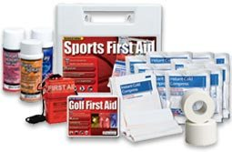 Sport First Aid Kits - All our sports first aid kits are big hits with leagues and coaches, these all purpose Sports First Aid kits are our number one sellers for Badminton, baseball, basketball, bowling, cheerleading, dance, field hockey, football, golf, gymnastics, hockey, hustleball, lacrosse, little league, martial arts, pop warner, rugby, sailing, self defense, skating, soccer, softball, swimming, t-ball, table tennis, tennis, track, volleyball & wrestling! Whether you are the dedicated coach, the starting athlete, or the fan on the sidelines, you know that being involved with sports can mean being involved with injury. Our line of sports medicine products includes emphasis on the things you need to put injury behind you and get back in the game Two great Sports First Aid Kits, and a selection of important Sports First Aid Supplies!