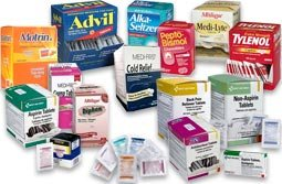 Medications & Tablets - Various Medications for Relief of Common Bodily Ailments -- Antacids, Aspirin, Back Pain Relievers, Extra Strength Pain Relievers, Cough Drops, Electrolyte Tablets, Feminine Relief, Ibuprofen, Motion Sickness, Non-Aspirin & Name Brand Medications. READ what the U.S. Food and Drug Administration (FDA) says about generic drugs. Over the Counter Medications - Name Brand and Value Priced Generic tablets and Meds in single dose packs