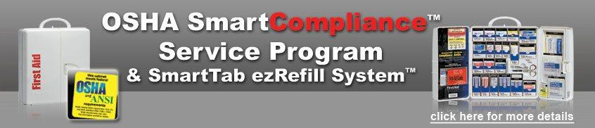 Image of two OSHA compliance first aid cabinets and description of OSHA SmartCompliance first aid Program.