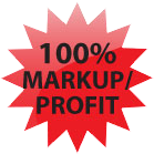 Image of red burst / star readgin: One hundred percent markup and profit.