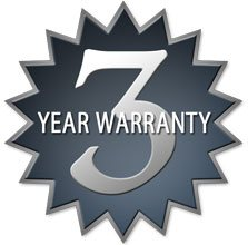 Image of 3 year warranty star burst emblem.