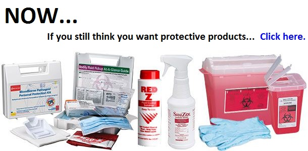 A compilation image of Ebola protective products reading: Now If you still think you want protective products click here.