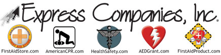 Express Companies, Inc., First Aid Store, American CPR, Health Safety, AED Grant and First Aid Product logos.