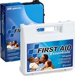 Image of large and medium cases labeled First Aid Essentials.