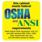 Image reading: This cabinet meets federal OSHA and ANSI requirements. Meets federal OSHA requirement and ANSI standard ANSI. State requirements may vary. See information product for details.